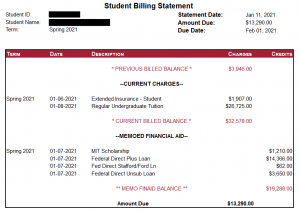 An example of an undergraduate bill with a previous balance.