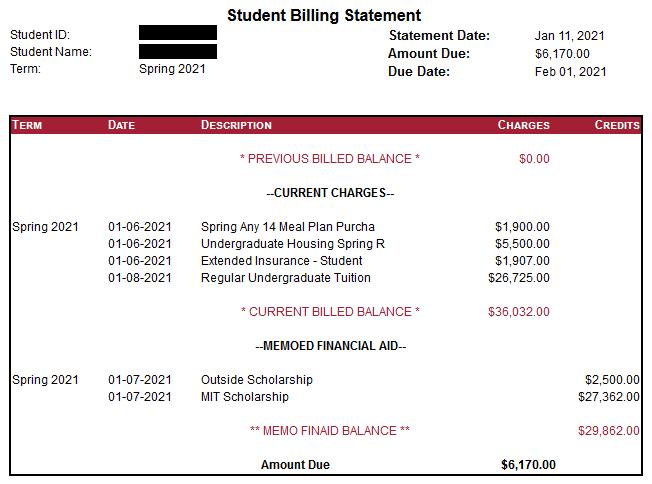A screenshot of an example student bill.